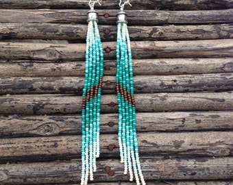 Long Seed Bead Earrings, Fringe Earrings, Long Earrings, Tassel Earrings, Tribal Jewelry, Statement Earrings