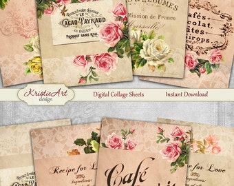 75% OFF SALE Cafes Flowers - Digital Collage Sheet Digital Cards C108 Printable Download Image Tags Digital Cafe Atc Card ACEO Flowers Cards