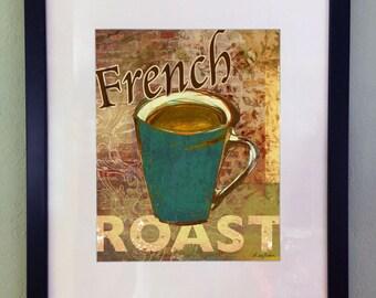 Coffee French Roast Art Print, Printable Digital Art, Kitchen Wall Decor, Instant Download