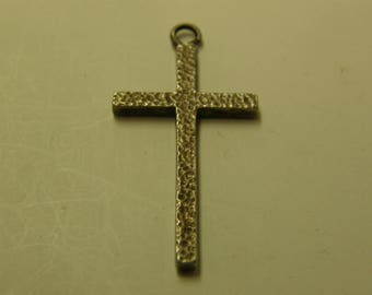Rustic Hammered Religious Cross Pendant - Sterling Silver