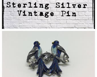 Vintage solid sterling silver bluebird pin