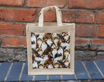 Cats Jute Bag, Cat Bag, Cat Jute Bag, Brown Cats, Ginger Cats, Cream Cats, Jute Bag, Hessian Bag, Lunch Bag, Shopping Bag, Gift Bag
