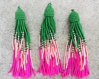 1 pc seed bead tassel boho fringe green pink fuschia handmade India jewelry making supplies earrings
