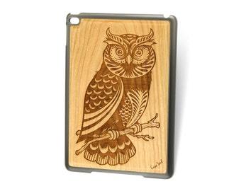 iPad Air case, iPad Mini case, iPad Mini 2 case, iPad 3 case, iPad engraved case, custom iPad case,Owl 2 wood engraved case