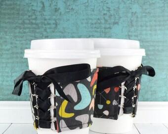 Coffee Cup Cozy // 50's Diner Cup Cozy // reversible // adjustable // reusable // cold drink cozy // retro cup cozy // corset cup cozy