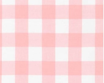 Pink and White Plaid Cotton Fabric - Robert Kaufman - Carolina Gingham 1'' Petal- Plaid by the Yard- Gingham Quilting Fabric
