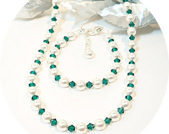 Emerald Green, Necklace and Bracelet, Flower Girl Jewelry, May Birthstone, Kids Jewelry, Crystal and Pearl, Dressy Jewelry, Holiday Jewelry