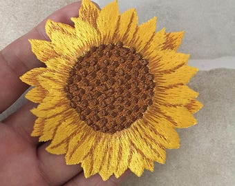 Sunflower patch etsy yellow sunflower iron on patch embroidered floral appliques 75x7 cm mightylinksfo
