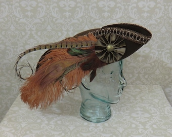 Brown Pirate Hat- Fancy Brown Wool Tricorn with Brown Trim, Ostrich, Rooster and Pheasant Feathers- 100% Wool Tricorn