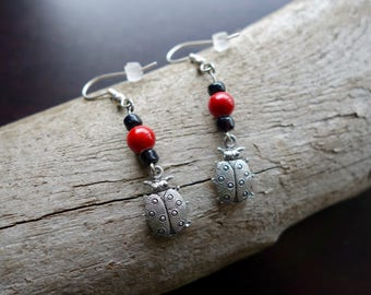 Ladybug Bead Earrings | Red Black and Silver Dangles | insect
