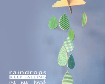 Baby Mobile - Raindrops Keep Falling on my Head  - Wooden Baby Mobile - Modern Nursery - Rain Cloud