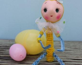 Vintage Style Yellow Easter Bunny,  Big Eye,  Shelf Sitter
