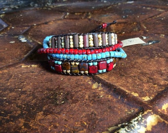 Handcrafted triple wrap bravelet Southwest Tribal Bohemian New Mexico Cowgirl