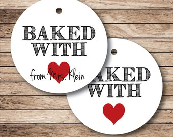 Baked with Love (heart) Tags on White or Cream . 20 Personalized Tags for Favors or Baked Goods (np)