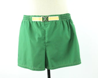 80s Jantzen Swim Trunks Shorts Swimtrunks Green Yellow Vintage 1980s Mens Size 36 Hipster Rockablly Surfer