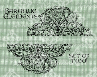 Digital Download Baroque Elements Decorative Motif Set of 2 pretty with flourishes and swirls digi stamp Illustration, Digital Transfer