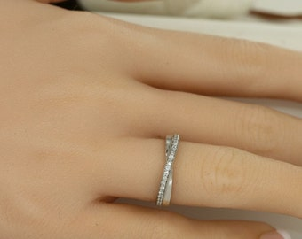 Infinity Half Eternity Diamond Wedding Band In 14K White Gold Conflict Free Diamond Eternity Ring Anniversary Ring Ready To Ship Size 6