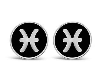 Sterling Silver Pisces Symbol Cufflinks