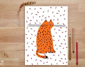 Tiger Art Print, Tiger artwork, Orange Cat, Tiger gifts, cat lover gift, Cheetah print, cat illustration, Tiger Illustration, confetti cat