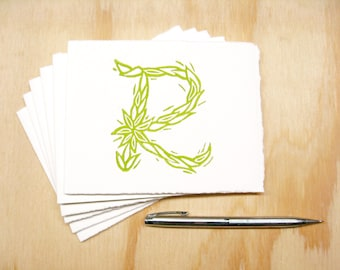 Letter R Stationery - Personalized - Set of 6 Block Printed Cards
