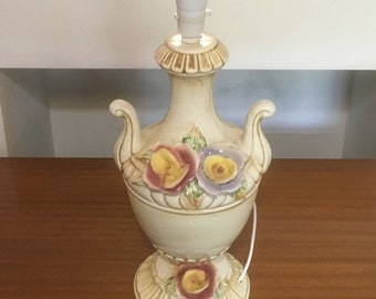 Very Large Italian Ceramic Lamp with Flowers