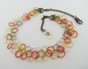 One of a Kind Glass Chainmaille necklace - Hand Blown Heady Glass - handmade necklace - Bridal Jewelry - Pink Glass Necklace - Boro Chain