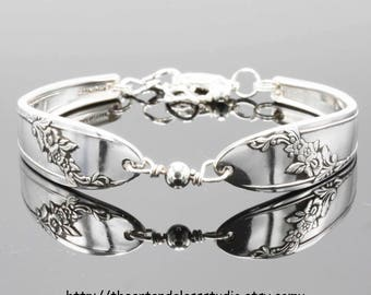 Silver Spoon Bracelet QUEEN BESS Jewelry Vintage, Silverware, Gift, Anniversary, Wedding, Birthday