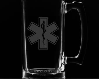 """25 Ounce """"Star of Life"""" Personalized Beer Mug"""