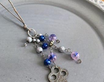 Vintage Silber Schlüssel Lesezeichen Perlen Buch Thong Grunge blau lila Steampunk