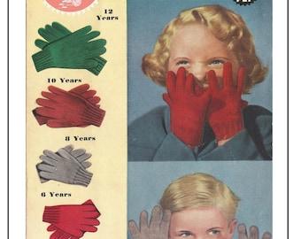 Children's Gloves 1940/50's Vintage Knitting Pattern  - PDF Knitting Pattern - Instant Download