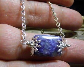 Minimalist Purple Charoite Gemstone 18 in. Necklace Small Petite, Bar Necklace, Teachers, Friends