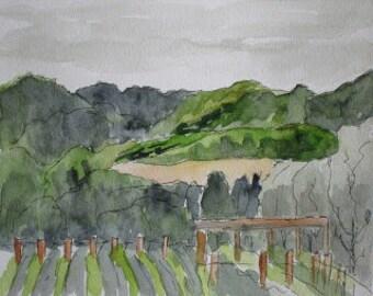 "California Art Watercolor Painting Mondavi Vineyards Napa Valley California Original 5""x7"" Plein Air Landscape Artist Kathleen Daughan"