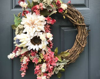 Fall Wreaths, Fall Door Decor, Fall Decorating, Front Door Wreath, Fall Wreaths for Door, Pink, Housewarming Gift, Gift for Her, Fall Decor