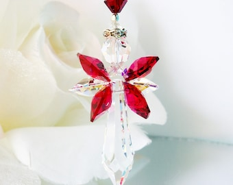 Angel Suncatcher for Car, Rear View Mirror Charm, Red and Black Swarovski Crystal Car Accessories