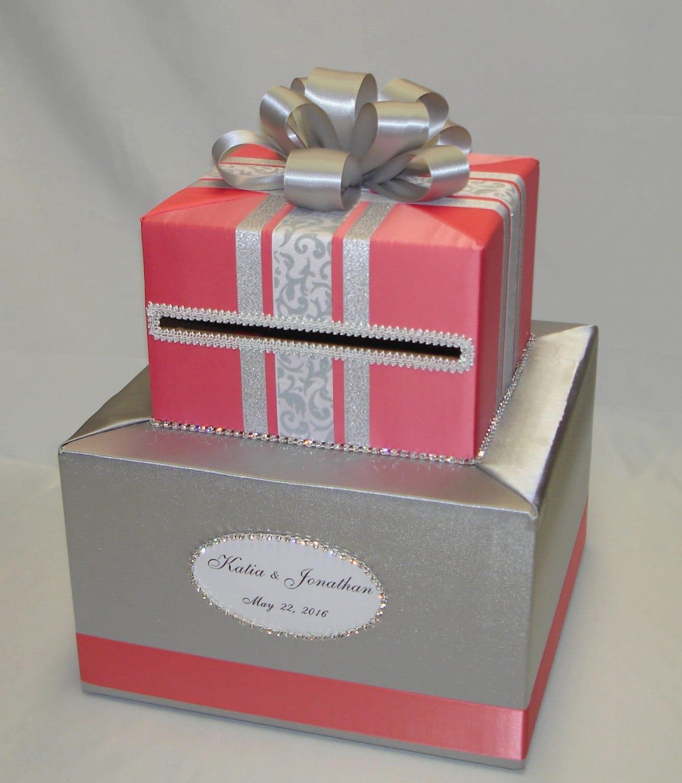 Coral and Silver Wedding Card Box-Rhinestones