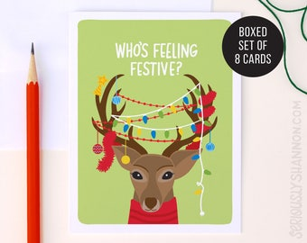 "Cute Christmas Cards, Christmas Card Pack, Reindeer Cards, Funny Holiday Card, ""Feeling Festive"" Holiday Cards Set of 8 A2 Greeting Cards"