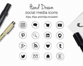 Hand Drawn Social Media Icons - Website and Blog Icons - Blog Buttons