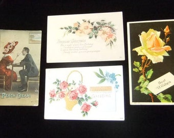 Early Divided Back Postcards, Circa 1907 - 1914, Group of 4