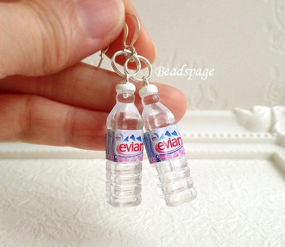 Miniature Food Jewelry Earrings Bottle Mineral Water