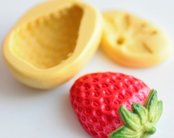 Silicone Strawberry fruit molds realistic 3cm. Polymer clay, resin, airclay