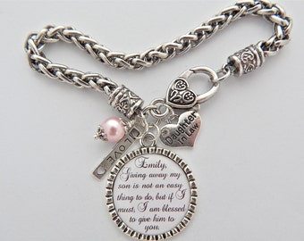 Future Daughter in Law BRACELET, Daughter in Law Gift, BRIDE to be Gift, Charm Bracelet, Giving away my son is not an easy thing to do