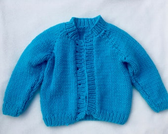 Blue baby hand-knit cardigan