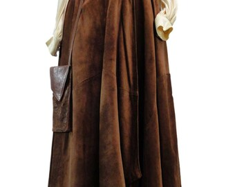1970s MUNPER SPAIN Leather Full Wrap Skirt w/Purse Gypsy Bohemian Romantic size 42/M