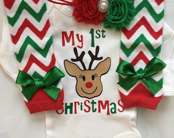 INFANT baby girl 1st Christmas outfit - baby girl christmas photo outfit - personalized christmas baby outfit - christmas legwarmers