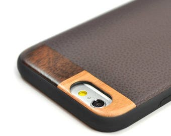 iPhone 7 Leather Case, Leather iPhone 7 Case, Wood Leather iPhone 7 Case - LTR-BR-I7