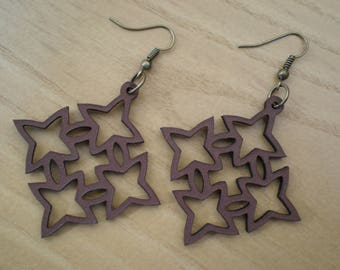 Laser cut leather earrings 06. Possible to make a set with a bracelet