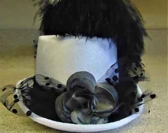 Black White Party Prom Costume Velvet Hat