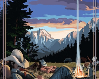 Cowboy Camping Night Scene (Art Prints available in multiple sizes)