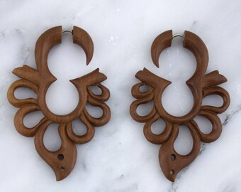 Wooden Splint Hangers / Fake Gauges Earrings