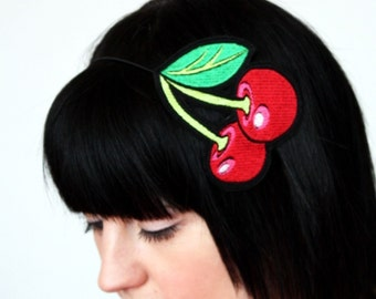 Cherries Headband, Red with hints of Shocking Pink